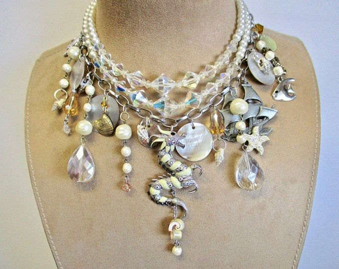 shell beads Multistrand mother of pearl One of my earlier pieces of jewelry. Adjustable from 18 to 20 inches and plastic beads necklace