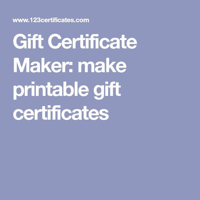 Gift Certificate Maker: make printable gift certificates