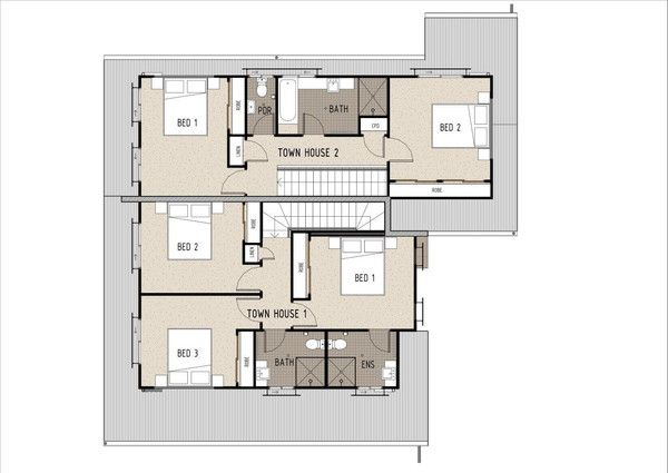 Duplex D3003. First Floor Plan. This is a great duplex/townhouse design which would be suitable for investors and small developments.  This duplex can be built on a 600m2 block or larger with an existing house at the front.