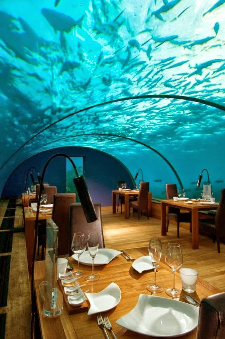 Underwater Restaurant, The Maldives. This is crazy and might freak me out, but how beautiful is that?