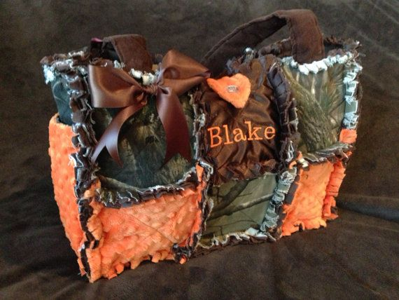 Custom Made Modern Chic Rag Quilted Diaper Bag with real tree mossy oak camo fabric for boy or girl