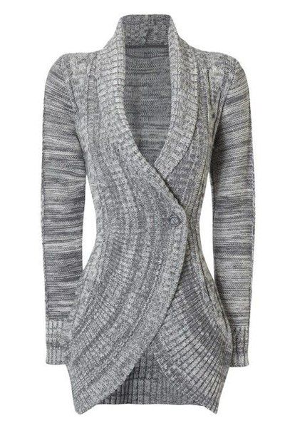 Stylish Shawl Collar Long Sleeve Slimming Cable Cardigan