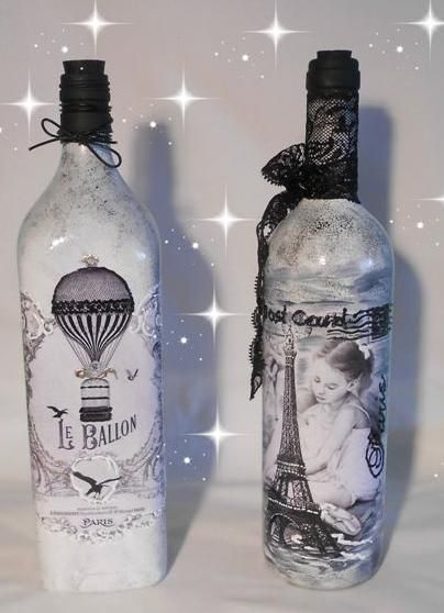 botellas blancas decoupage fotocopias 3