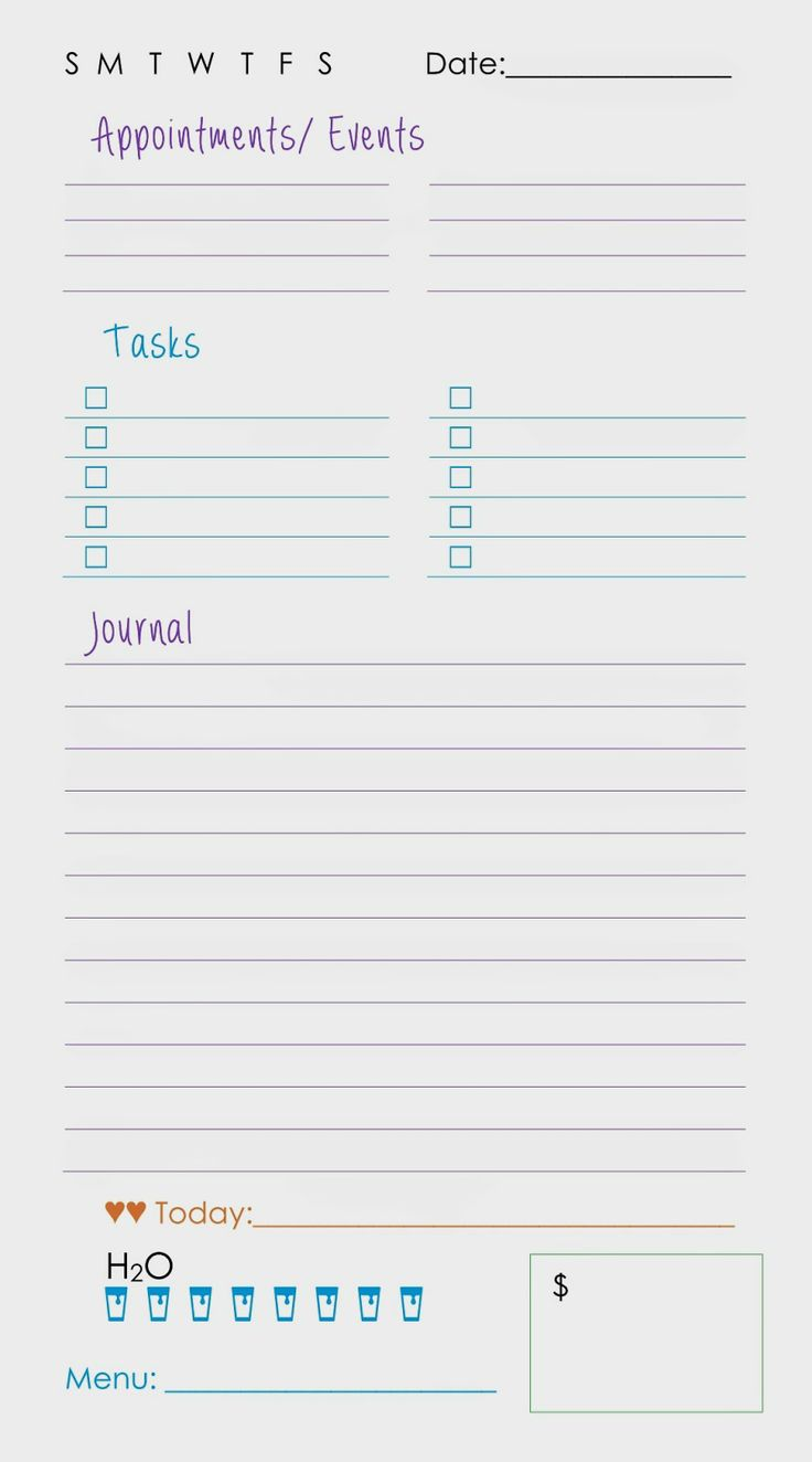 Printable Daily Planner Page | Sparkle Frogs: Planning My Day - One or Two Pages Per Day?