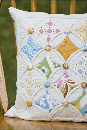 close up of my cathedral windows pillow. made following instructions from a tutorial somewhere on my pinterest craft boards.