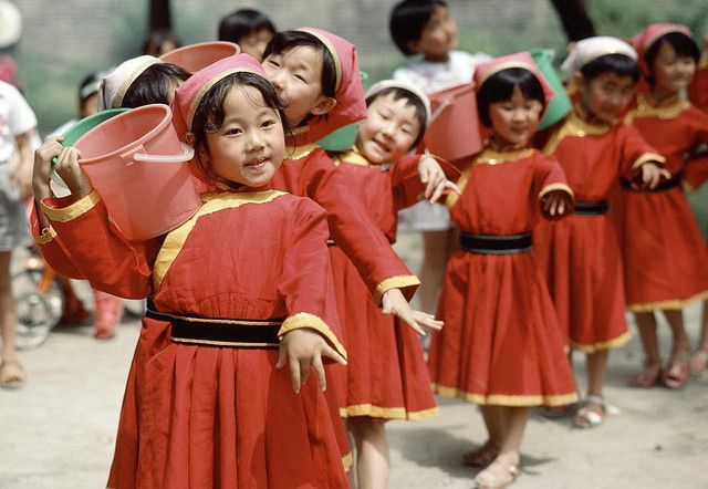 Children participating in a pre-census demonstration in Hohhot [Inner Mongolia]. #China