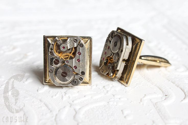Steampunk Wedding Vintage Gold Plated Square Shaped Cufflinks with Antique Russian Striped Etched Watch Movement by CapsuleCreations on Etsy
