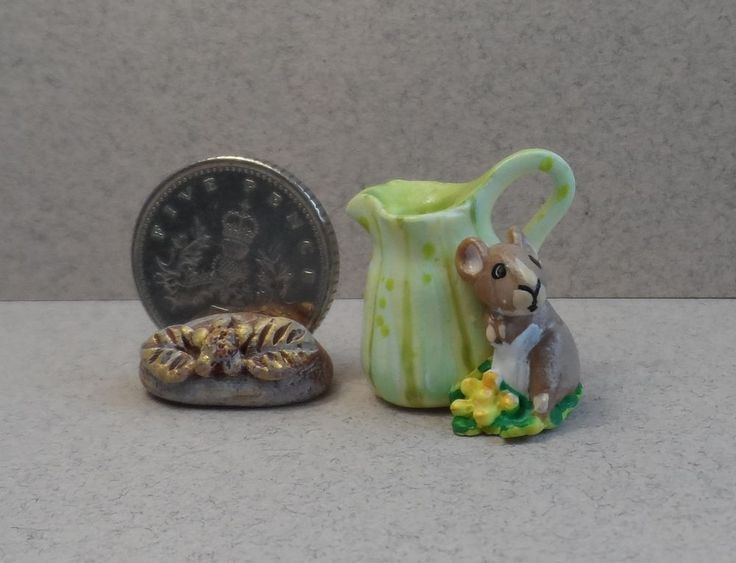 OOAK green pumpkin and mouse pitcher jug miniature Cottage Kitty