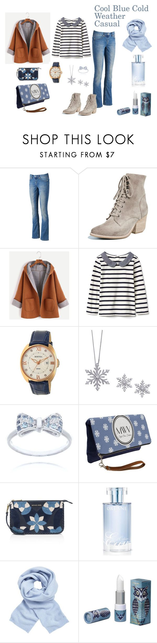 """""""Cool Blue Casual- Cold Weather Style"""" by rebeccadavisblogger on Polyvore featuring Seven7 Jeans, Jeffrey Campbell, Bertha, Splendid, MICHAEL Michael Kors, Orlane and John Lewis"""