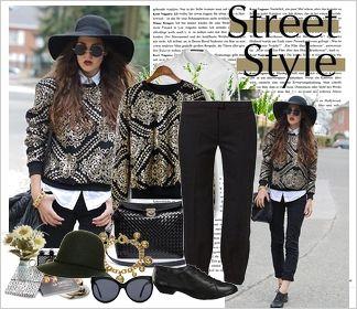 Zestaw ubrań Street style // street style gold & black outfit