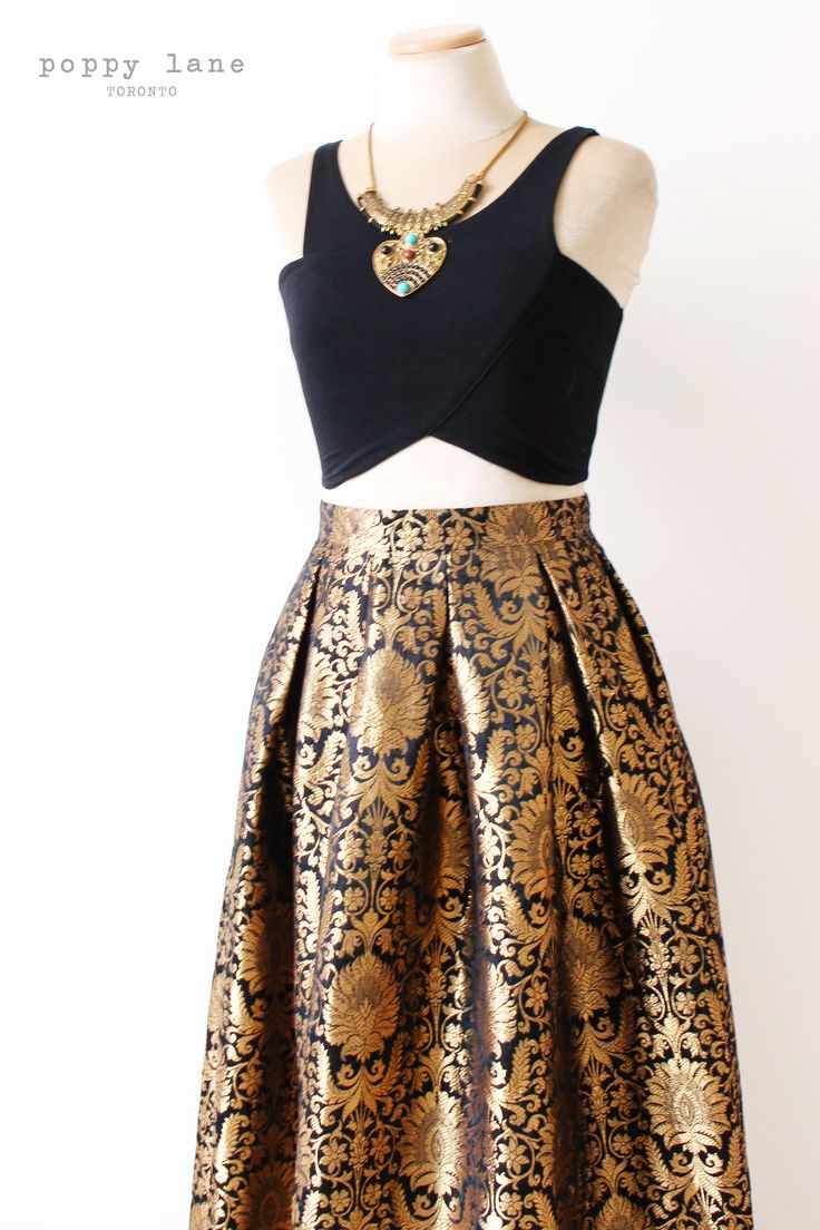 Black and Gold Brocade Skirts @ poppylane.ca