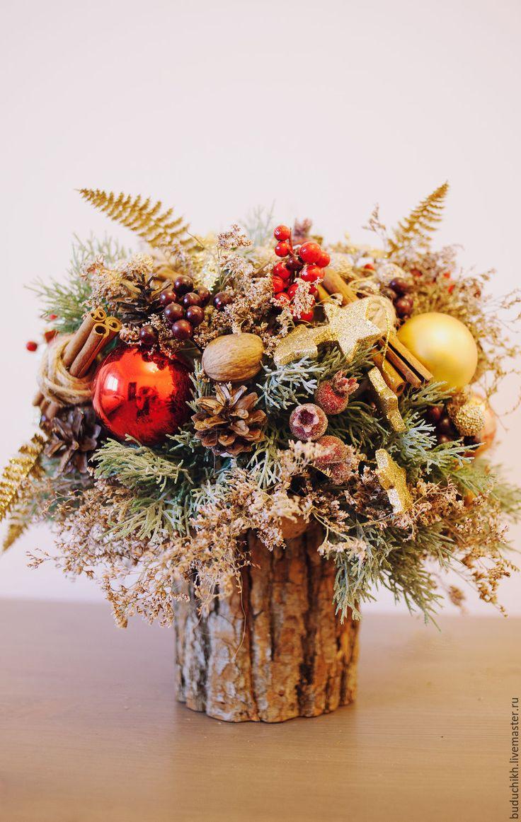 """Купить Новогодняя композиция """"Красное золото"""" - Декор, декор для интерьера, декоративные элементы, декоративный элемент"""