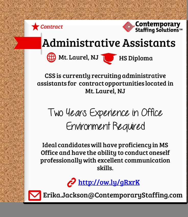 CSS is #hiring Administrative Assistants in Mt Laurel, NJ l Email - how to email a resume