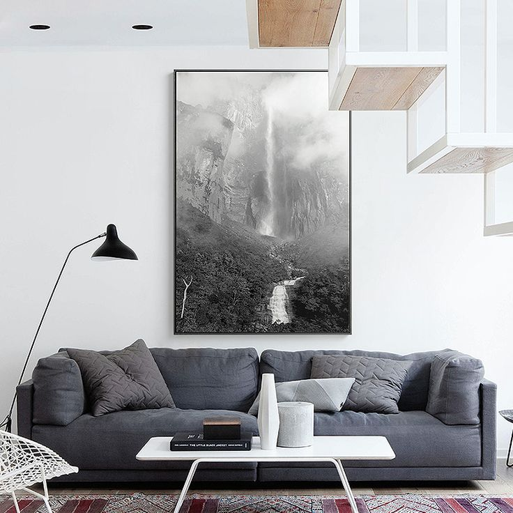 Contemporary Landscape Wall Art Premium Canvas Print Waterfall In Black & White Extra Large  Dimensions - Portrait 120H x 80W cm