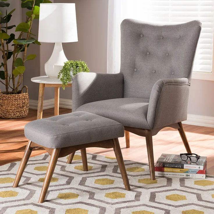 mid-century lounge chair set with ottoman