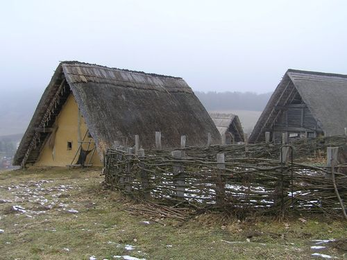 Reconstruction of individual courts at Old Hradisku Celtic oppidum, the Czech Republic.