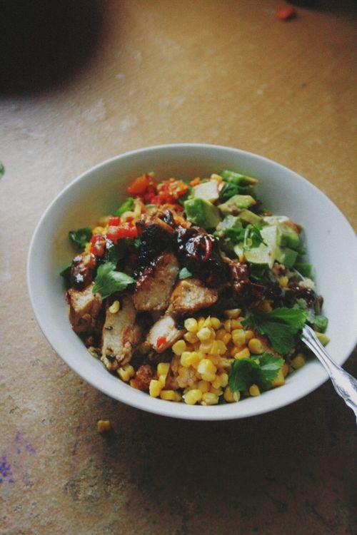 Quinoa Burrito Bowl: chipotle grilled chicken, lime-parsley quinoa + bell pepper salsa.