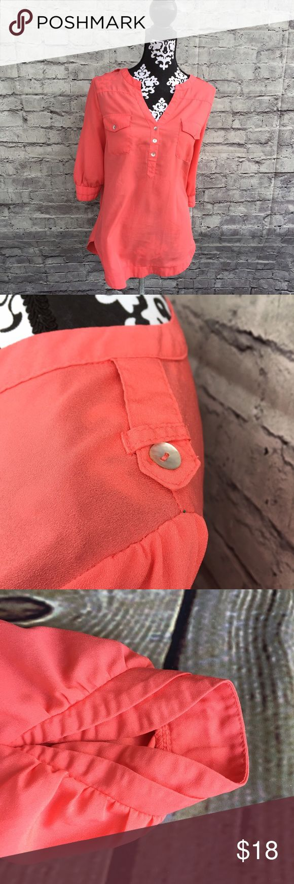 """41Hawthorn Sheer Coral Blouse size M EUC 41Hawthorn for Stitch Fix """"Filbert 3/4 Sleeve Popover Blouse"""" Coral Blouse M. Good preowned condition, no flaws. 41 Hawthorn Tops Button Down Shirts"""