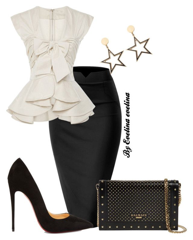 EVE by evelina-er on Polyvore featuring WithChic, Christian Louboutin and Balmain