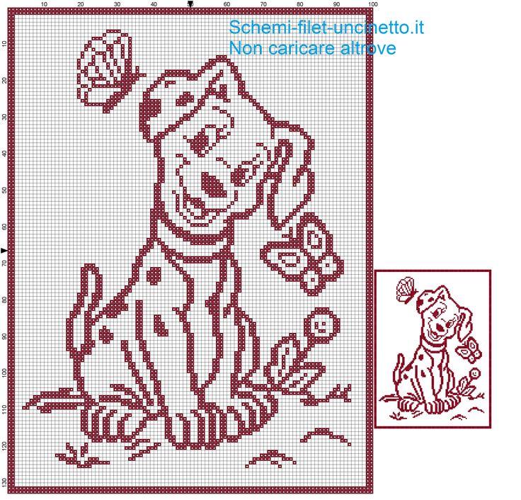 Copertina cane della carica dei 101 schema filet uncinetto