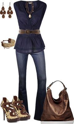 blue top w/ jeans and brown, shoes, earings purse and bracelet
