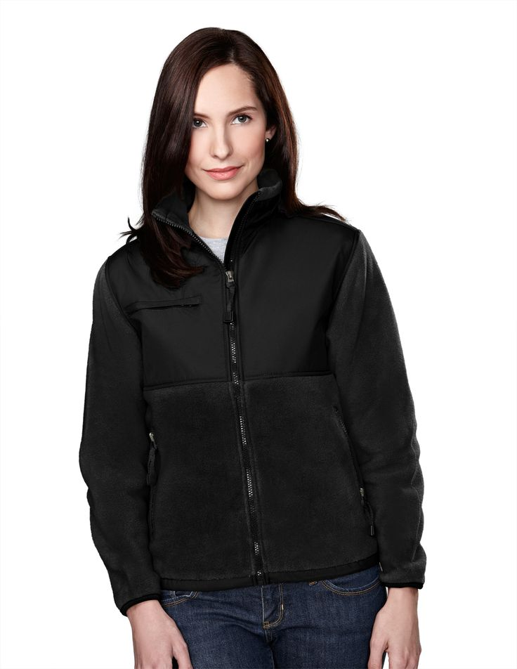 Women's Nylon Paneling Panda Fleece Jacket. Tri mountain 7420 #Jacket #Trimountain #black