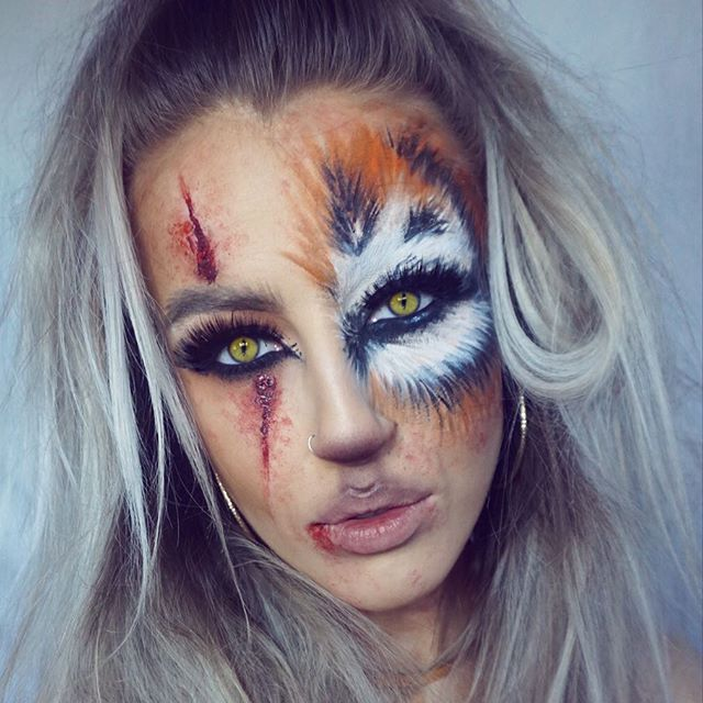 Rawr  3rd Halloween look of the year - Tiger Warrior Princess thing  product details to follow #keilidhmua #halloweenmakeup @sigmabeauty @muradskincare #iamthecreator