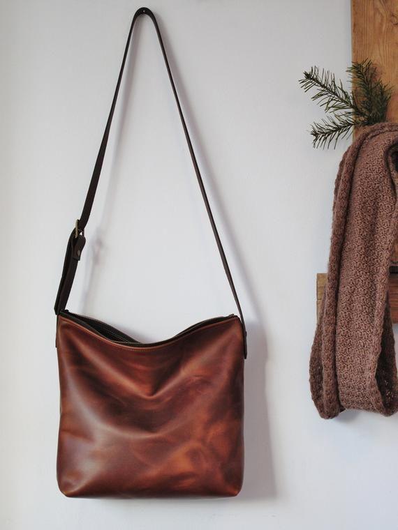 3aea3cd3e7b41 Chestnut brown leather shoulder bag crossbody purse slouchy