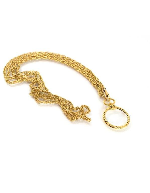 Chanel Vintage '80s Gold Double Chain Magnifying Glass Pendant Necklace
