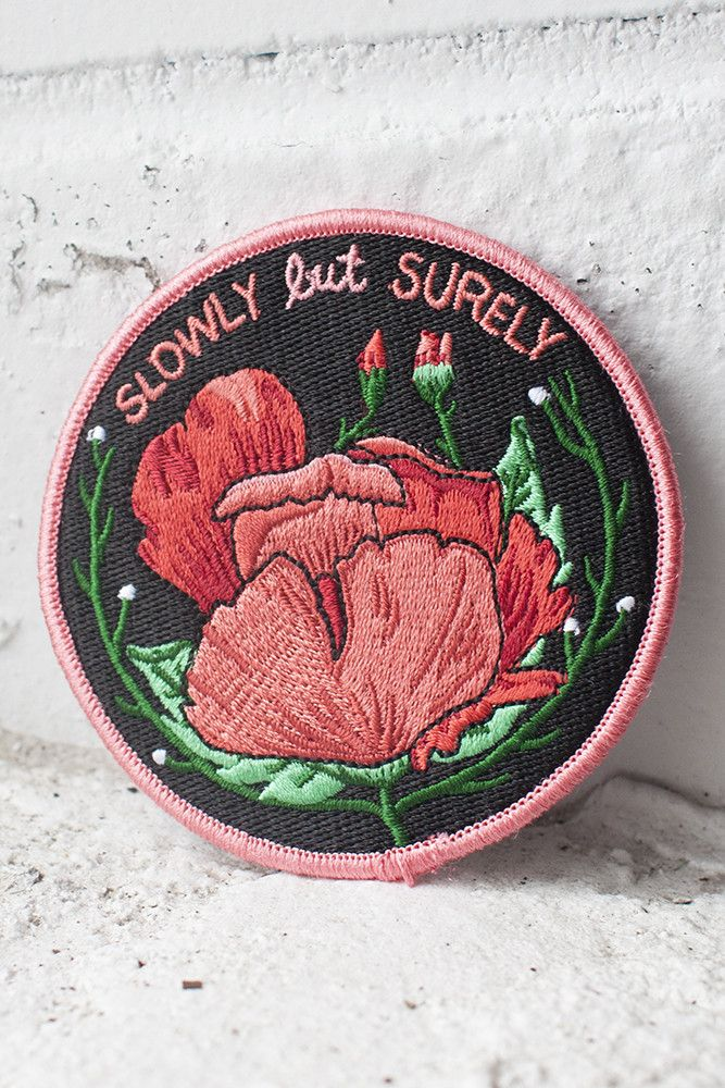 "Slowly but surely. 3"" embroidered patch with merrowed edge and iron-on backing. Follow the instructions below to affix this patch to a garment of your choosing (click to enlarge)! For items that will be washed, sewing on is recommended."
