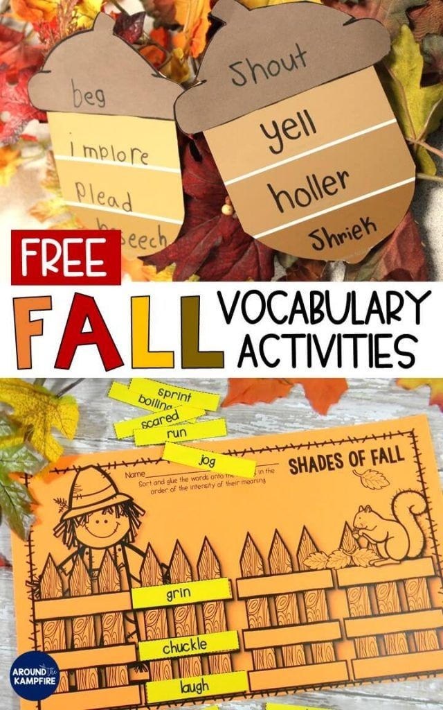 Free Fall vocabulary activities for working with synonyms and shades of meaning. Cute fall bulletin board ideas plus download the acorn template and student practice page free in this post.