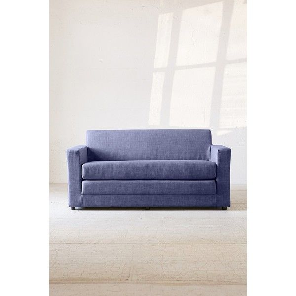 Anywhere Convertible Sofa (515 CAD) ❤ liked on Polyvore featuring home, furniture, sofas, urban outfitters, compact sofa, urban outfitters furniture, lightweight couch and blue sleeper sofa