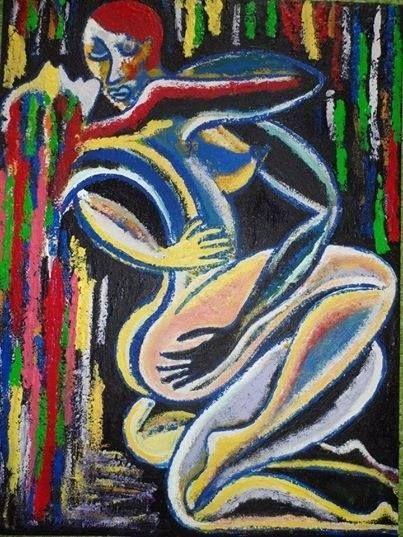 Schilderij verliefd paar,gemengde techniek,115×70 zelf geschilderd!