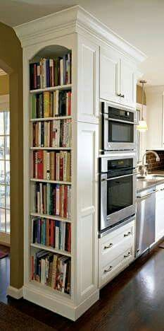 Nice narrow, end of counter, floor to ceiling, bookcase. Great for cookbooks