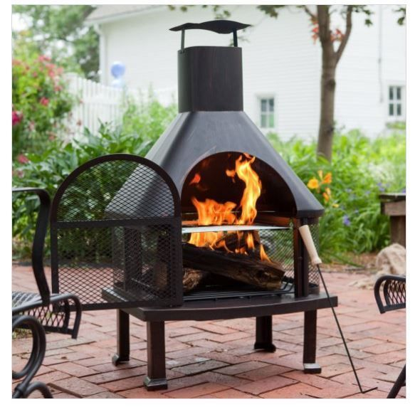 Outdoor Wood Burning Fireplace Patio Fire Pit Steel Backyard Cooking