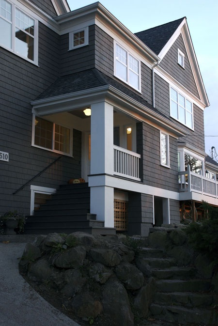 7 best images about dark gray exterior w bright white trim on pinterest dark craftsman - Dark grey exterior house paint concept ...
