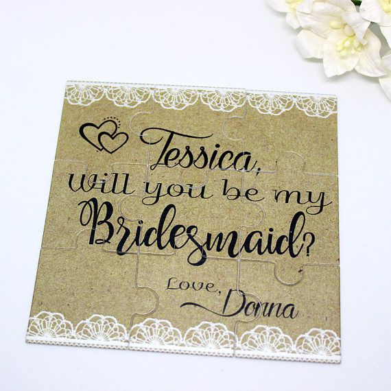 Rustic Will You Be My Bridesmaid Personalized Puzzle Burlap