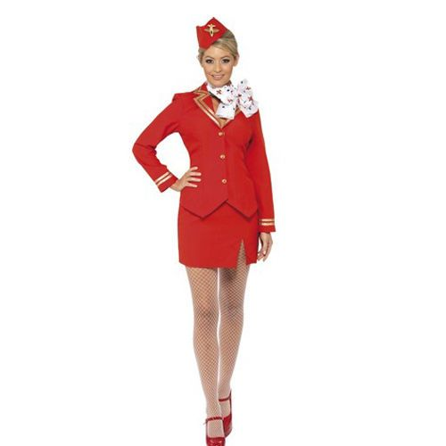 Med Sexy Red Air Hostess Flight Attendant Stewardess Women Fancy Dress Costume