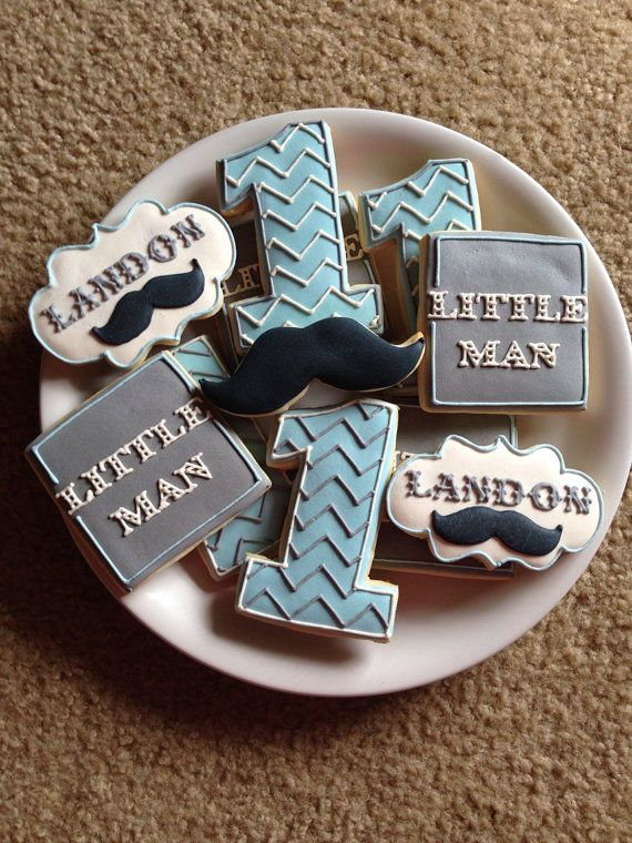Little+Man+Mustache+Cookies+/+One+Dozen+by+ShopCookieCouture,+$37.00