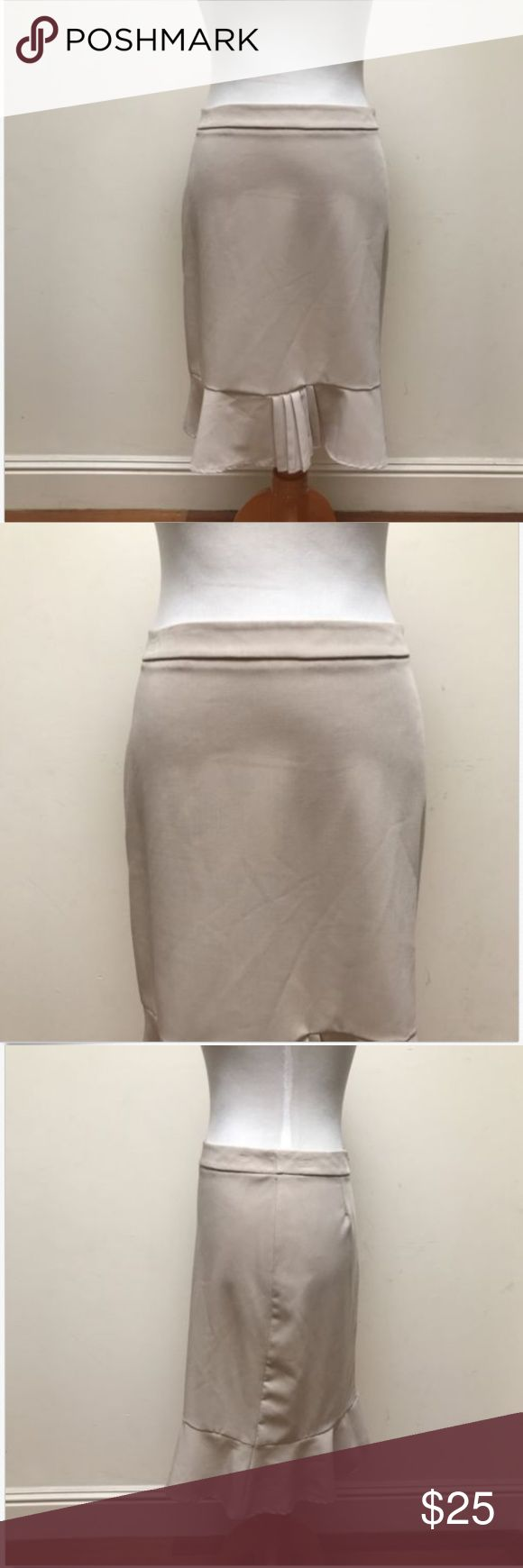 Sinequanone Paris Beige Fitted Trumpet Skirt Sinequanone Paris Women's Beige Fitted Trumpet Pleated Skirt No stains or rips.  Good condition.  Tag pinhole on the side. Measurements approximate:  (Garment is lying flat and unstretched) Waist: 15', Length: 22' Sinequanone Skirts Pencil