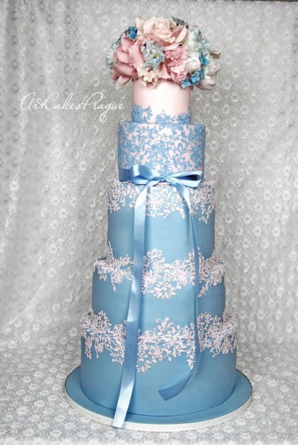 Rose Quartz & Serenity blue Wedding cake by Art Cakes Prague by Victoria Mkhitaryan
