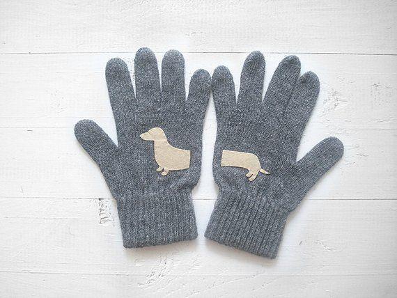 Dachshund Gift, Animal Mittens, Gloves With Dachshund, Dog Mom Gift, Gray Wool Gloves, Wiener Dog, W