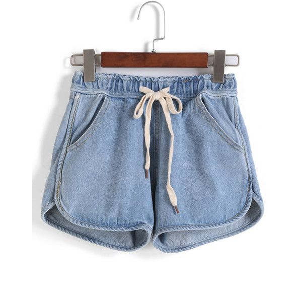SheIn(sheinside) Drawstring With Pockets Denim Shorts ($15) ❤ liked on Polyvore featuring shorts, bottoms, sheinside, blue, blue jean shorts, drawstring shorts, loose fit shorts, blue shorts and denim shorts