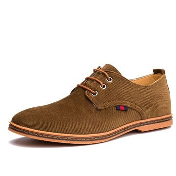 US Size 6.5-11 Men Casual Soft Comfortable Fashion Flat Oxford Suede Lace Up Shoes
