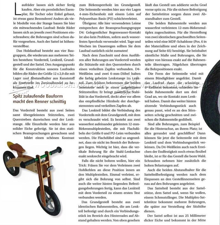 #2978 Balance Bike Plans - Children's Outdoor Plans Wooden Toy Plans