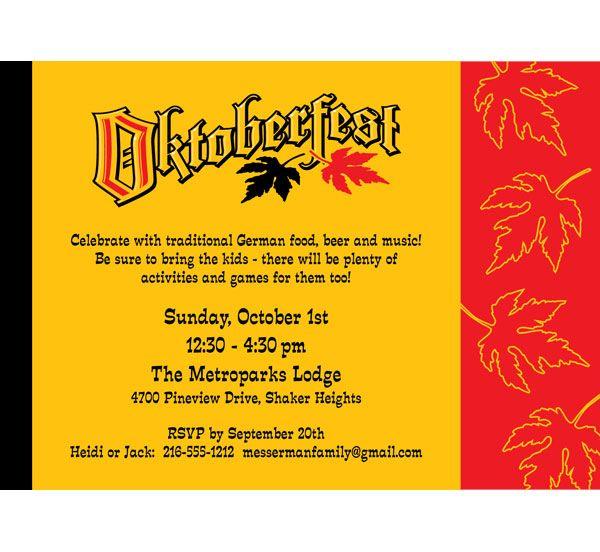 Oktoberfest Festival Invitation http://www.oktoberfesthaus.com