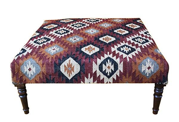 One Kings Lane - Chalet Chic - Imogen Kilim Upholstered Ottoman