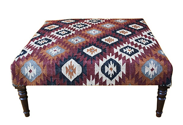 One Kings Lane - Chalet Chic - Imogen Kilim Upholstered Ottoman