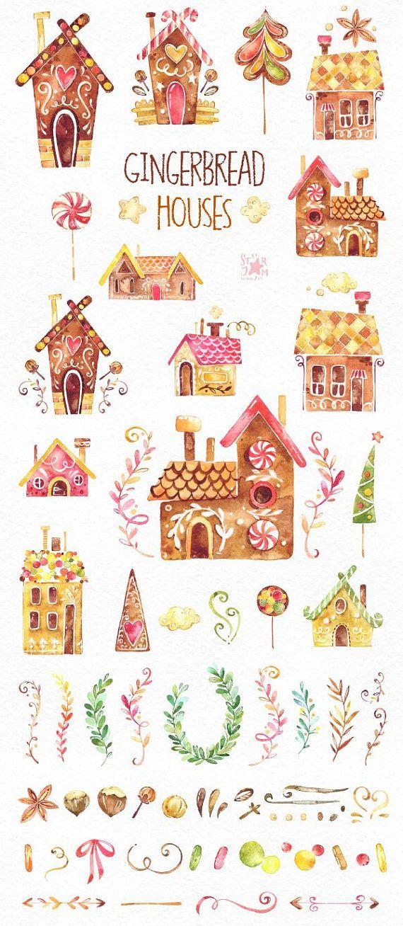 Maisons de pain dépice. Clipart aquarelle Noël biscuits