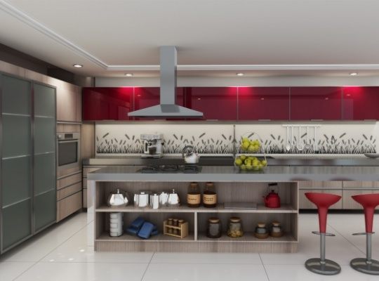 Red is a great kitchen colour.